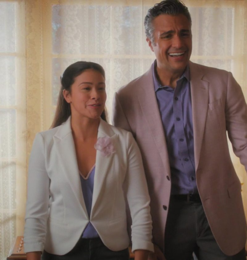 White Jacket Worn by Gina Rodriguez in Jane The Virgin TV Show - Female Fashion Outfits and Products