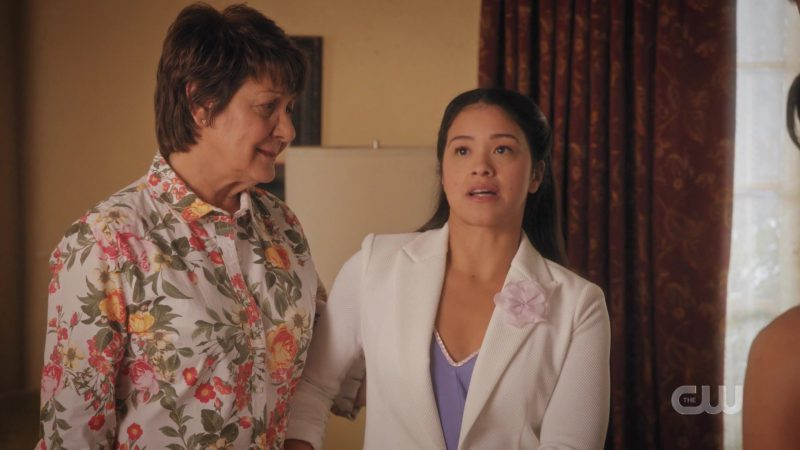 White Jacket Worn by Gina Rodriguez in Jane The Virgin - TV Show Outfits and Products
