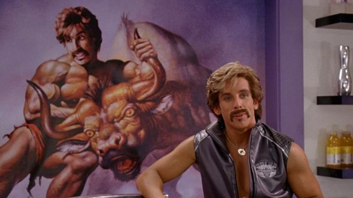 A painting of White Goodman (Ben Stiller) in Dodgeball - Movie Outfits and Products