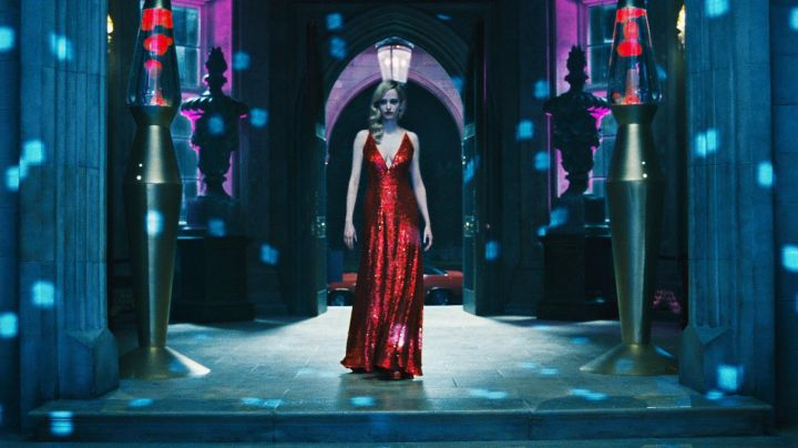 Angélique Bouchard's (Eva Green) V neck red sequin dress in Dark Shadows - Movie Outfits and Products