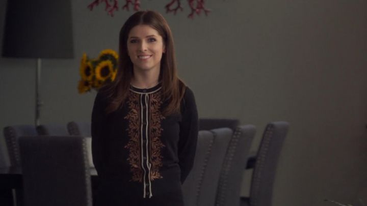 Black cardigan with golden embroidery worn by Stephanie Smothers (Anna Kendrick) in A Simple Favor movie