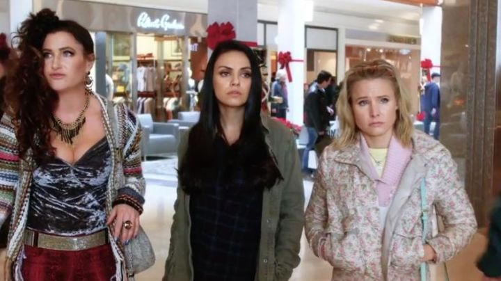 Blue Plaid Shirt worn by Amy (Mila Kunis) in A Bad Moms Christmas Movie