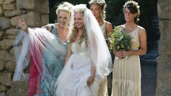 Blue dress worn by Donna (Meryl Streep) as seen in Mamma Mia - Movie Outfits and Products