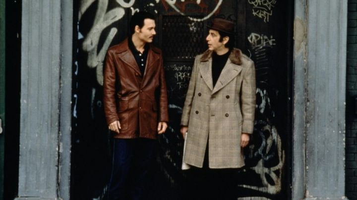 Brown Leather Coat worn by Joseph D. Pistone (Johnny Depp) as seen in Donnie Brasco - Movie Outfits and Products