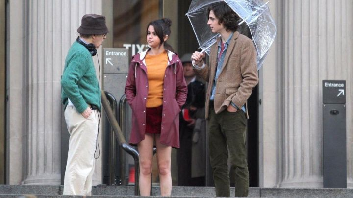 Burgundy Rain Coat worn by Selena Gomez as seen in the set of A Rainy Day in New York - Movie Outfits and Products