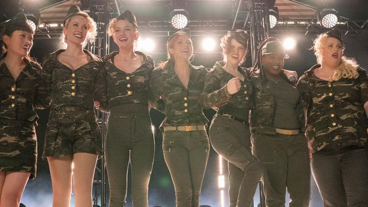 Camouflage Jacket worn by Chloe (Brittany Snow) and the Bellas as seen in Pitch Perfect 3 movie