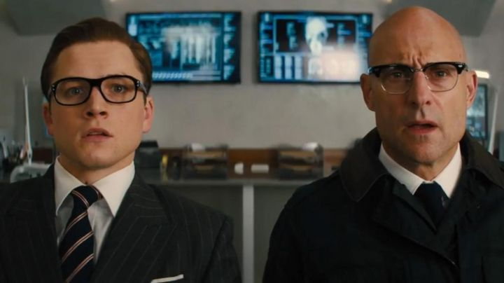 Cutler and Gross eyeglasses worn by Merlin (Mark Strong) in Kingmsan: The Golden Circle