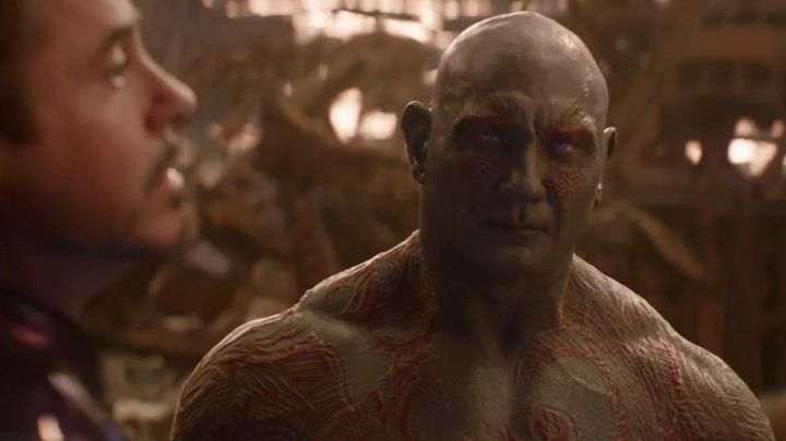 Drax the Destroyer's (Dave Bautista) tattoos as seen in Avengers: Infinity War - Movie Outfits and Products