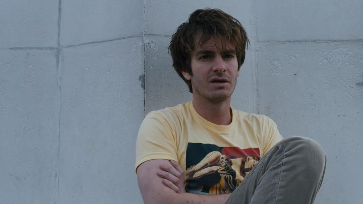 Emanuele Taglietti Art in Yellow t-shirt worn by Sam (Andrew Garfield) as seen in Under the Silver Lake Movie