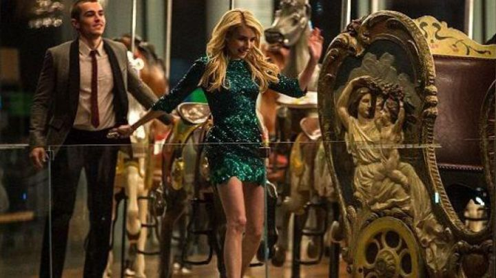Fashion Trends 2021: Green sequin dress worn by Vee (Emma Roberts) as seen in Nerve