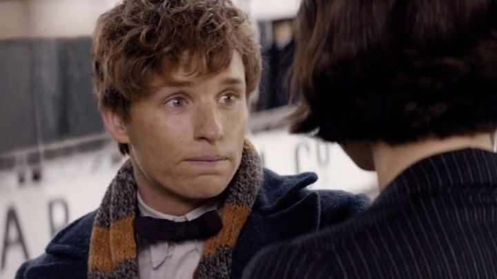 Hand Knitted Gray and Gold Scarf worn by Newt Scamander (Eddie Redmayne) in Fantastic Beasts - Movie Outfits and Products