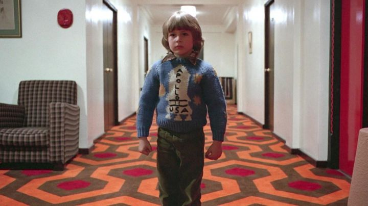 """Fashion Trends 2021: Homemade """"Apollo USA"""" Light Blue Kid Jumper worn by Danny Torrance (Danny Lloyd) as seen in The Shining"""