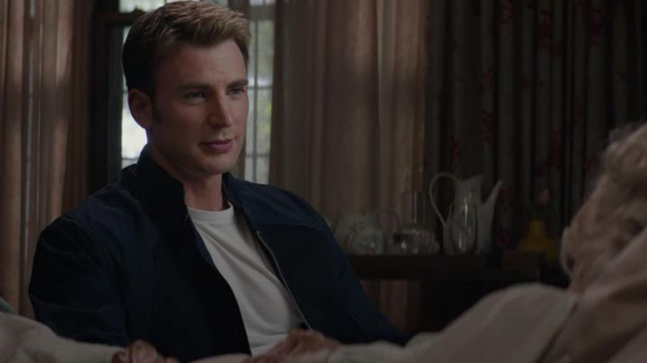 Fashion Trends 2021: Jacket blue style biker suede Steve Rogers (Chris Evans) in Captain America : The soldier winter