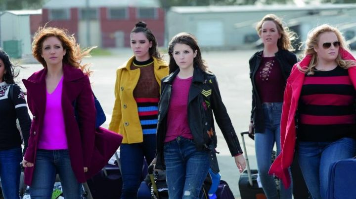 Leather Jacket with Embroidered Patches worn by Beca (Anna Kendrick) as seen in Pitch Perfect 3 - Movie Outfits and Products
