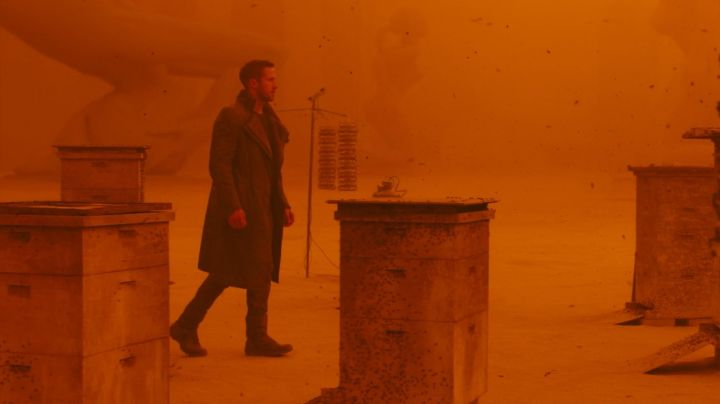 Leather sherpa coat worn by Officer K (Ryan Gosling) as seen in Blade Runner 2049