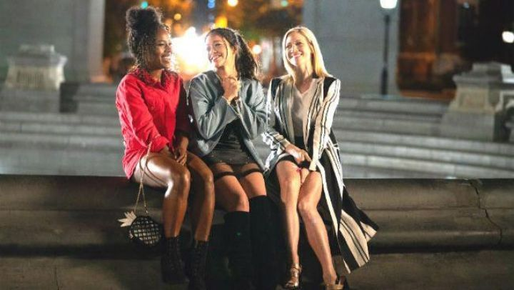 Long Vertical Striped Jacket worn by Blair (Britanny Snow) as seen in Someone Great movie