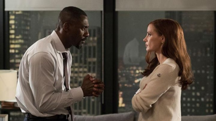 Moncler White jumper worn by Molly Bloom (Jessica Chastain) as seen in Molly's Game Movie
