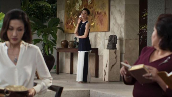 Navy/​White Sleeveless Pants Suit worn by Eleanor Young (Michelle Yeoh) in Crazy Rich Asians - Movie Outfits and Products