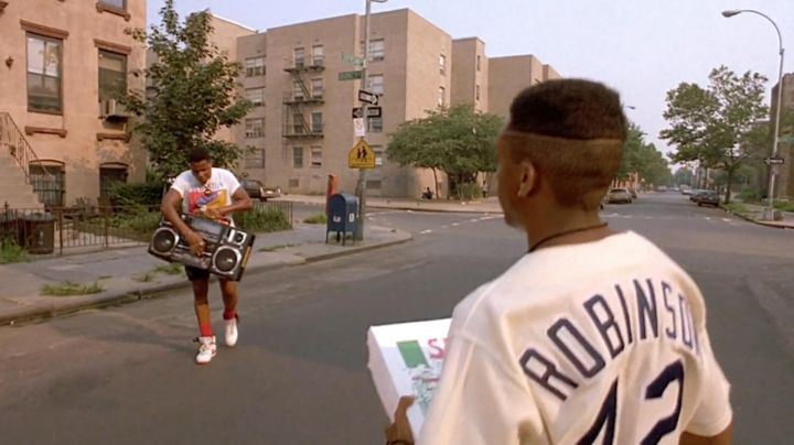 Nike Air Revolution sneakers worn by Radio Raheem (Bill Nunn) as seen in Do The Right Thing - Movie Outfits and Products