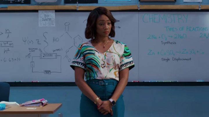 Printed Blouse worn by Carrie (Tiffany Haddish) in Night School movie