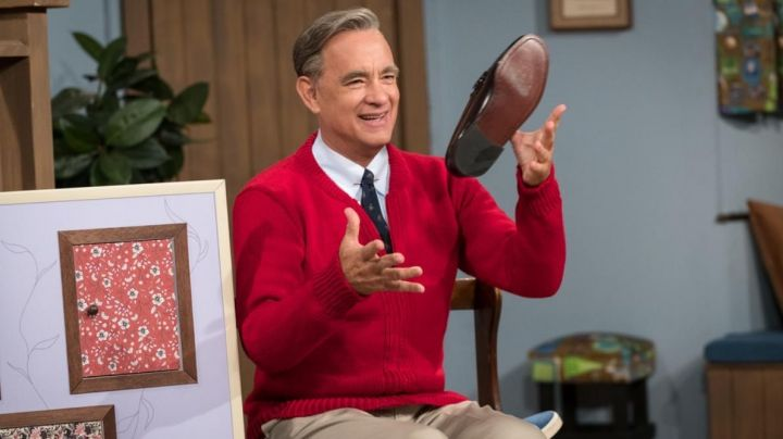 Red Cardigan worn by Fred Rogers (Tom Hanks) in A Beautiful Day in the Neighborhood movie