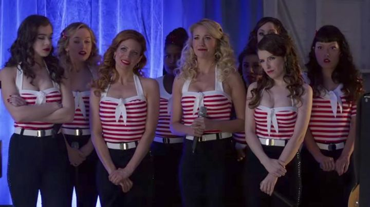 Red striped shirt worn by Aubrey Posen (Anna Camp) as seen in Pitch Perfect 3 movie