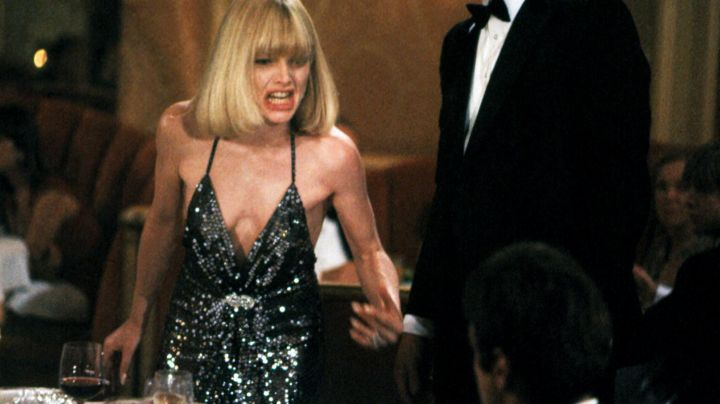 Fashion Trends 2021: Sequined black dress worn by Elvira Hancock (Michelle Pfeiffer) as seen in Scarface