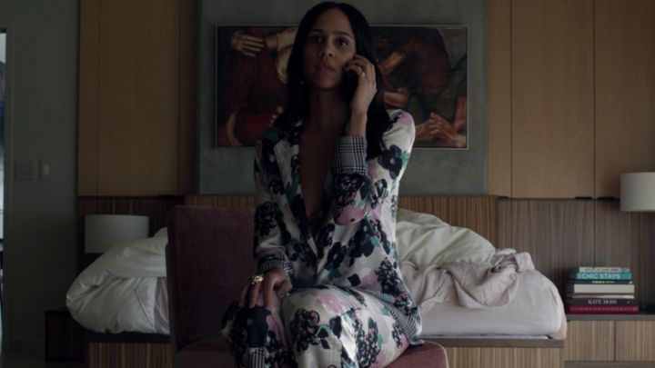 Silky floral pajamas with matching bottoms worn by Josephina (Zawe Ashton) in Velvet Buzzsaw movie