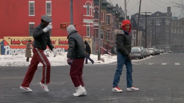 Sneakers Puma suede, white laces, red Chollie (Leon W. Grant) in Beat Street - Movie Outfits and Products