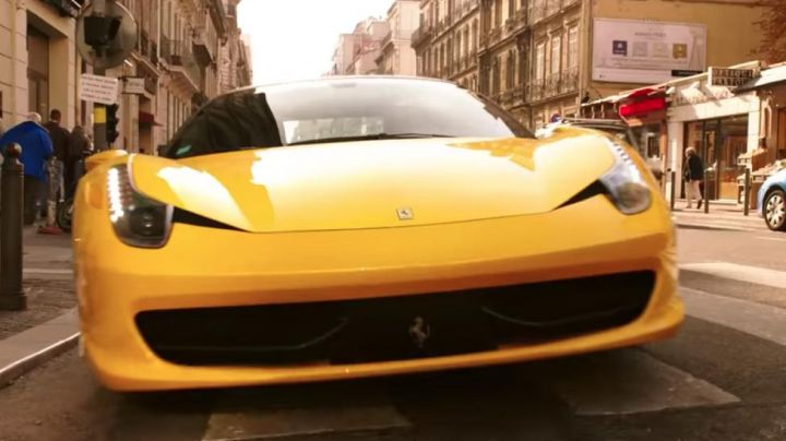 The 2010 Ferrari 458 Italia yellow view in Taxi 5 - Movie Outfits and Products