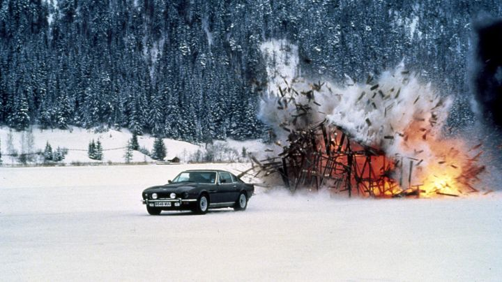 The Aston Martin V8 Vantage driven by James Bond (Timothy Dalton) as seen in The Living Daylights - Movie Outfits and Products