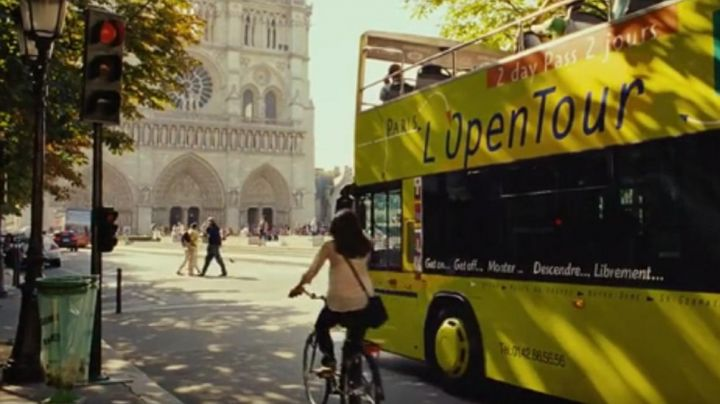 The Cathedral of Notre Dame de Paris in Girl on a bicycle (Louise Monot) - Movie Outfits and Products