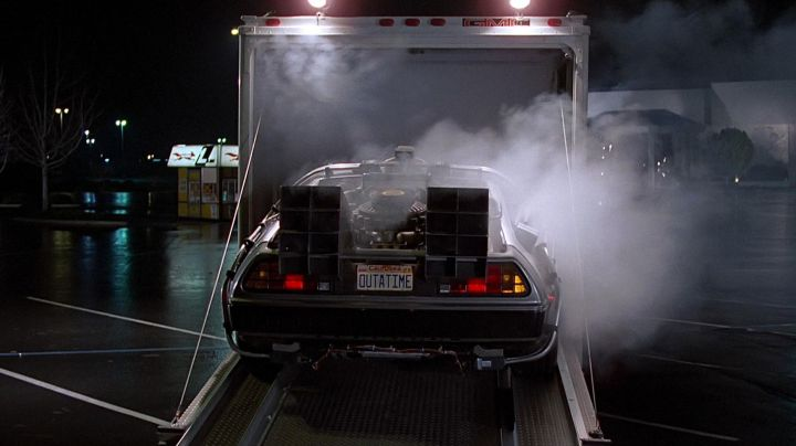 The DeLorean DMC-12 of the Dr. Emmett Lathrop Brown (Christopher Lloyd) in Back to the future movie