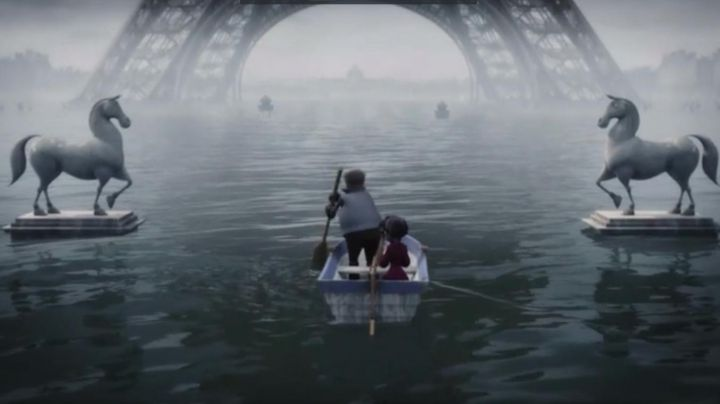 The Eiffel Tower flooded in A monster in Paris - Movie Outfits and Products
