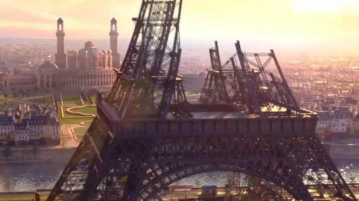 The Eiffel Tower under construction in Ballerina - Movie Outfits and Products