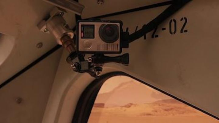 The GoPro camera in the Rover by Mark Watney (Matt Damon) in a Single on March movie