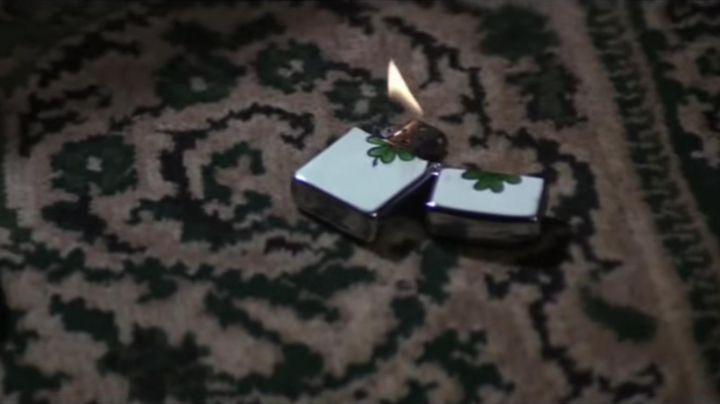 The Zippo lighter with a clover of Indiana Jones (Harrison Ford) in Indiana Jones and the Last Crusade movie
