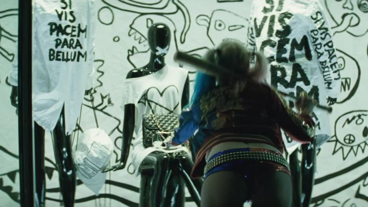 The bag flew in the window by Harely Quinn (Margot Robbie) in Suicide Squad movie