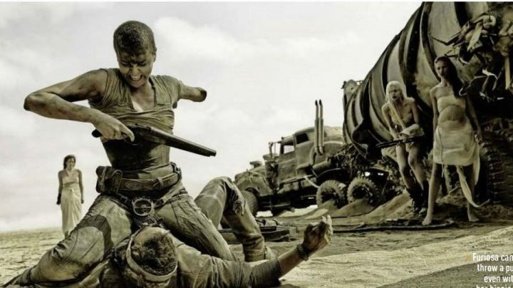 The belt buckle of Imperator Furiosa (Charlize Theron) in ' Mad Max Fury Road movie