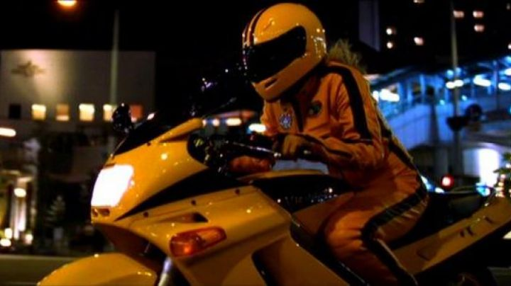 The bike yellow Kawasaki ZZR 250 of Beatrix Kiddo (Uma Thurman) in Kill Bill movie