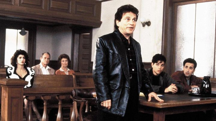 The black jacket in leather from Vinny Gambini (Joe Pesci) in My cousin Vinny - Movie Outfits and Products