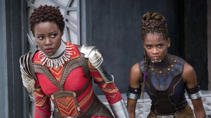 The blue collar Shuri (Letitia Wright) in Black Panther - Movie Outfits and Products