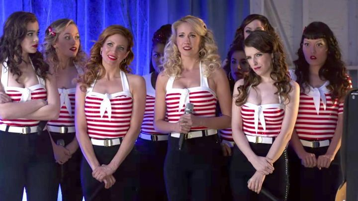 The blue pants (as amended), the Bellas during their performance in front of the military in Pitch Perfect 3 - Movie Outfits and Products