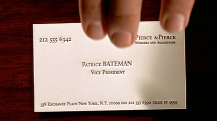 The business card of Patrick Bateman (Christian Bale) in American Psycho movie