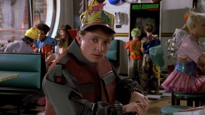 The cap futuristic Marty McFly (Michael J. Fox) in Back to the Future II movie