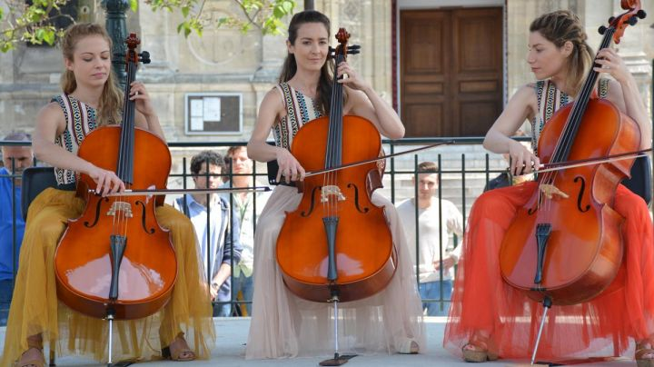The cellos, in long Live the crisis ! (Emmanuelle Boidron) - Movie Outfits and Products