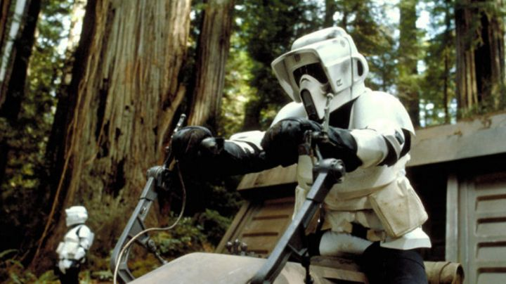 The chin of the Scout trooper in Star Wars IV : A new hope - Movie Outfits and Products