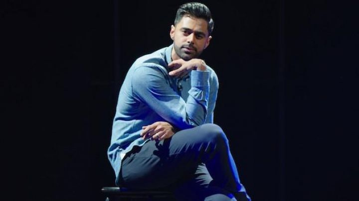 The chino blue worn by Hasan Minhaj in his show Homecoming King Movie