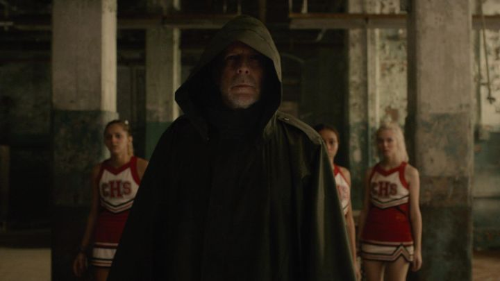 The coat to the hood of David Dunn (Bruce Willis) in Glass Movie