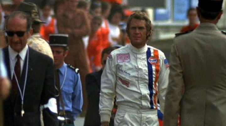 The combination of driver white Michael Delaney (Steve McQueen) in Le Mans Movie